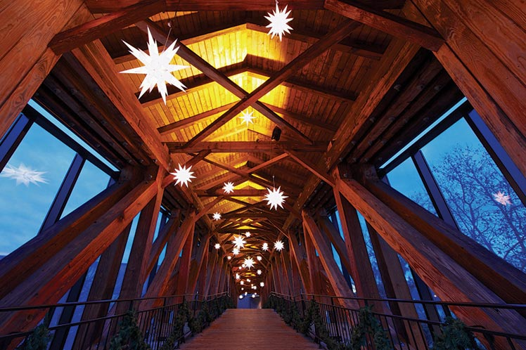 Bridge in Old Salem decorated for Christmas