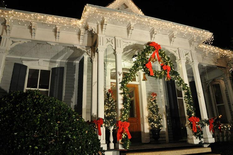 White house decorated for Christmas in McAdenville, NC
