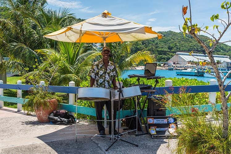 Local Musician performs outside in Ocho Rios