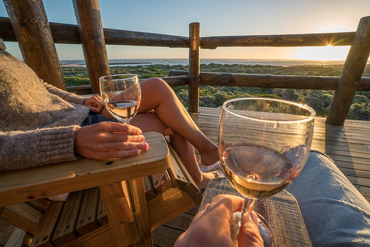 Couple enjoys wine in South Africa