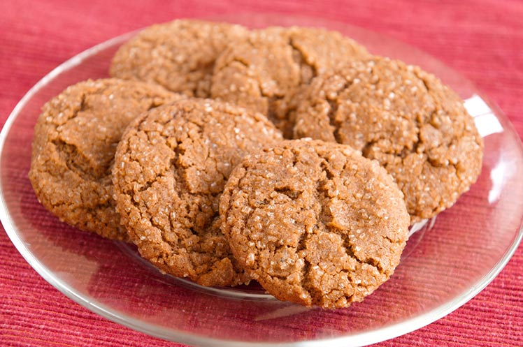 plate of fresh gingersnap cookies