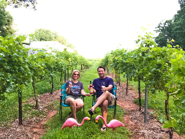 a couple relaxing in a vineyard while camping in their RV