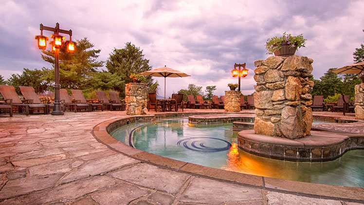 Omni Grove Park Inn's outdoor whirlpool located within the hotel's spa