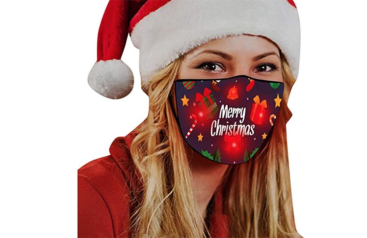 lady modeling Chritmas mask that lights up