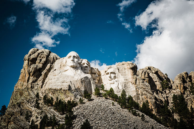 View of Mount Rushmore from groundlevel
