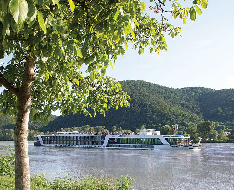 Exterior photo of AmaWaterways ship sailing on river