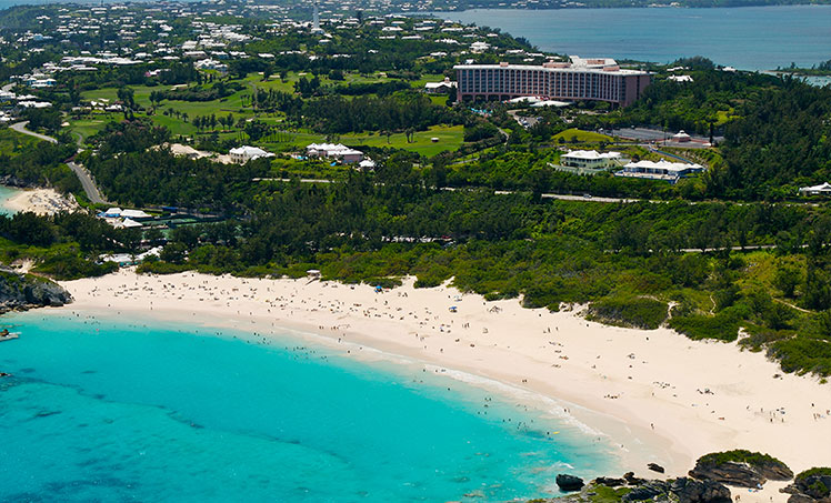 Aerial view of Horseshoe Bay, Bermuda