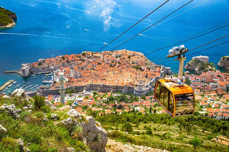 overlooking town of Dubrovnik from cable car