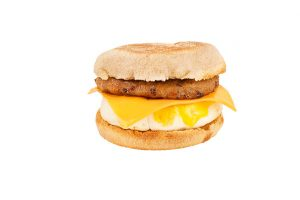 Sausage, egg and cheese English muffin breakfast sandwich