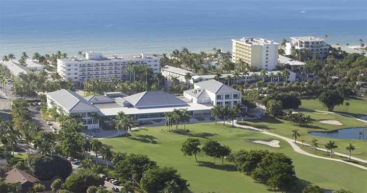 Aerial view of Naples Beach Hotel and Golf Club