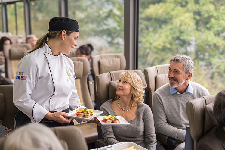 food being served on Rocky Mountaineer train