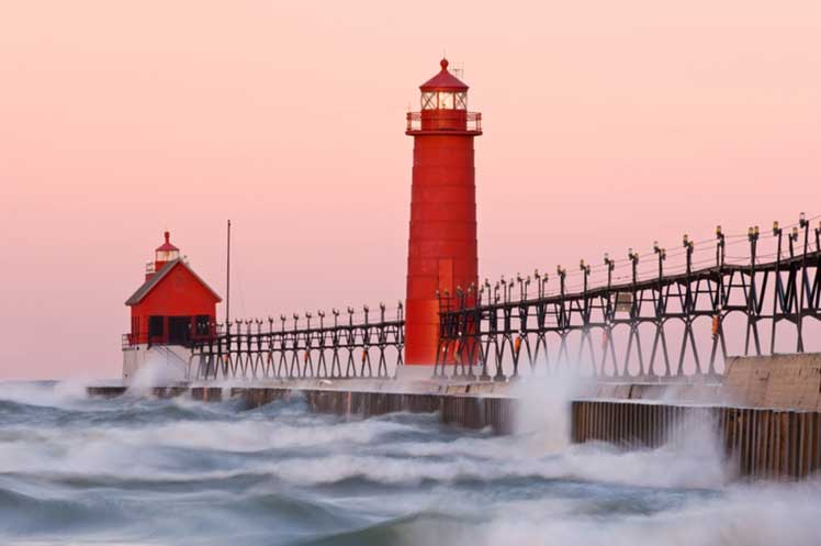 Red Grand Haven lighthouse
