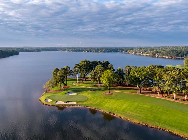 Aerial view of Reynolds Lake Oconee golf course