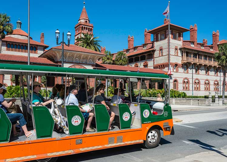 People on an Old Time Trolley Tour bus in St. Augustine