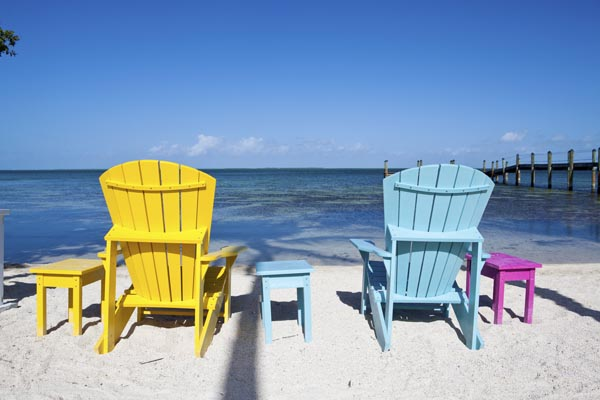 Color chairs in a resort at Florida Keys