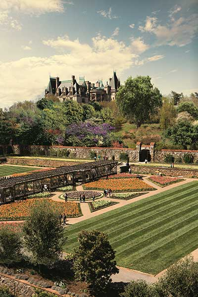 aerial view of Biltmore Estate and gardens