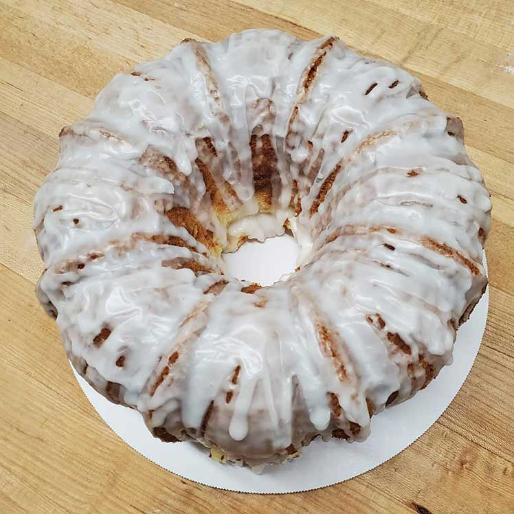 full pound cake with white icing