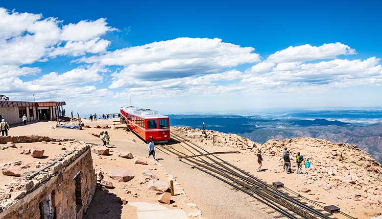 Pikes Peak railway at the top of the mountain
