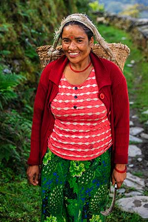 local woman of Nepal with a smile on her face