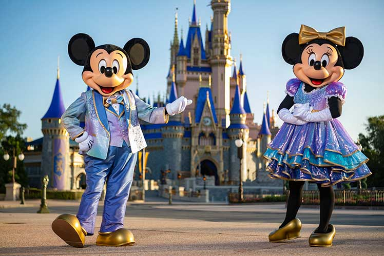 Mickey and Minnie Mouse posing at Magic Kingdom