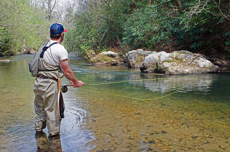 a man trout fishing in the river