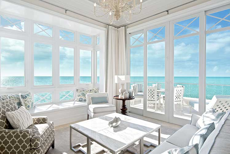 Living room in oceanfront suite of The Shore Club