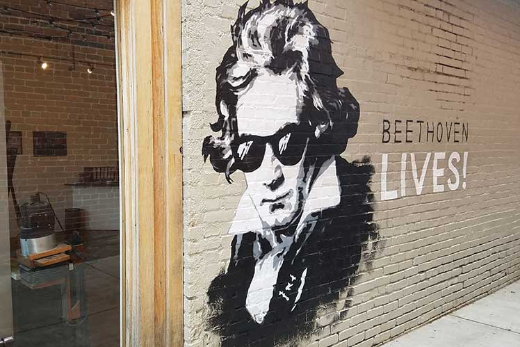 Beethoven Mural on a brick wall in downtown Brevard, NC