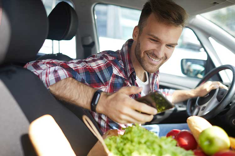 man in car with bag of vegetables from farmer's market looking at his phone