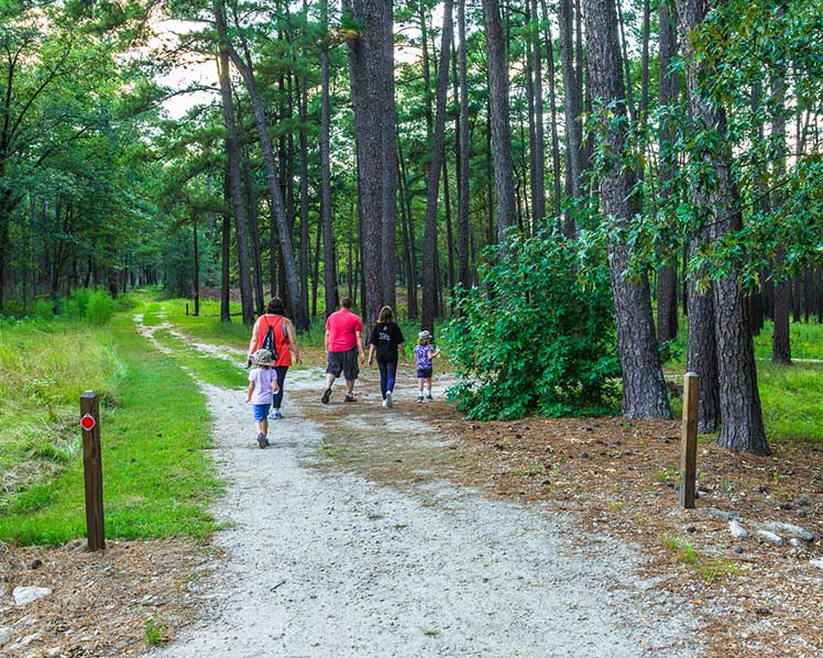 family walking a path at Carver's Creek